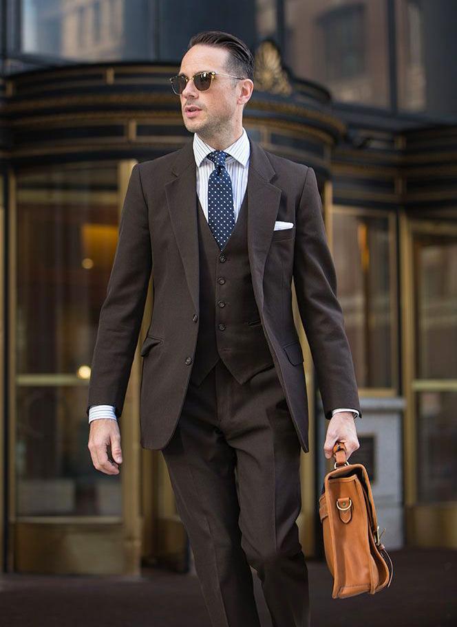 Three-piece brown suit