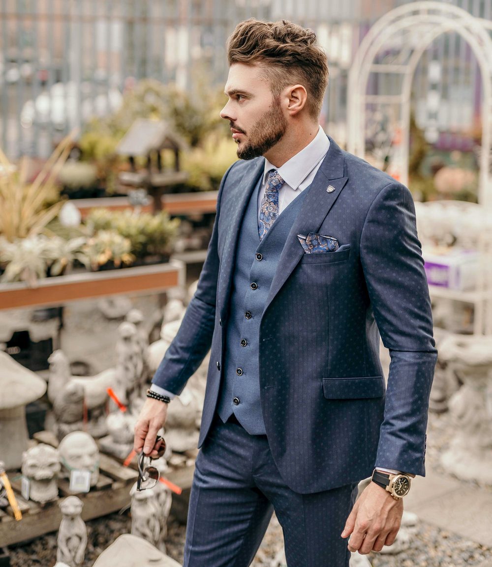 Three-piece suit as a fall wedding attire