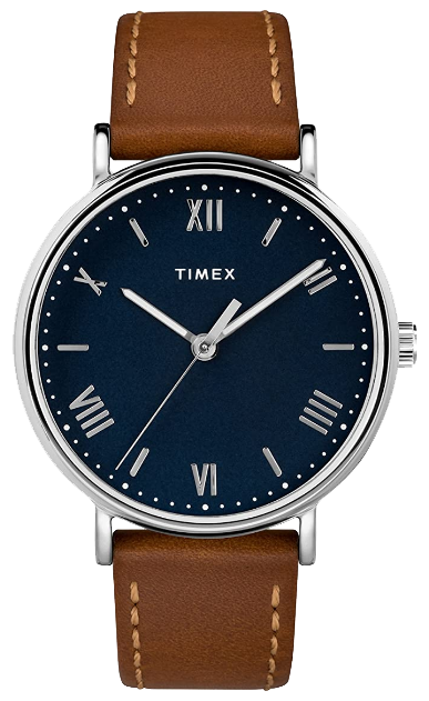 Brown leather strap watch with a blue case by Timex