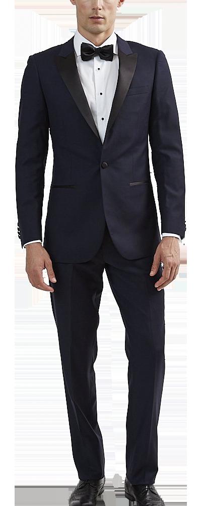 Navy peak lapel tuxedo made of Italian wool by Tomasso Black
