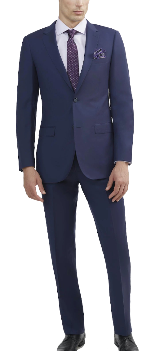 Tomasso Black slim-fit wool blue suit