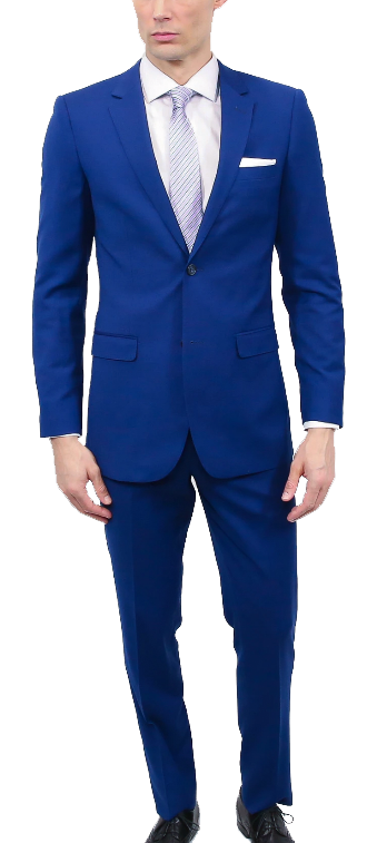 Two-piece classic stretch blue suit by Tomasso Black