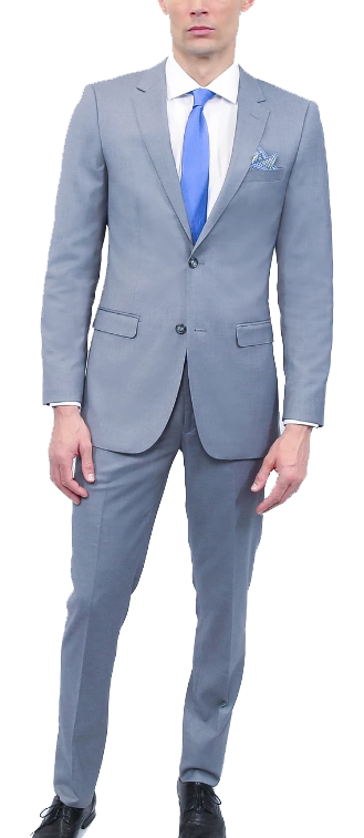 Classic fit two-piece bluish light grey suit by Tomasso Black