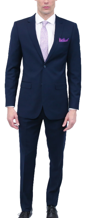Classic two-piece navy suit by Tomasso Black
