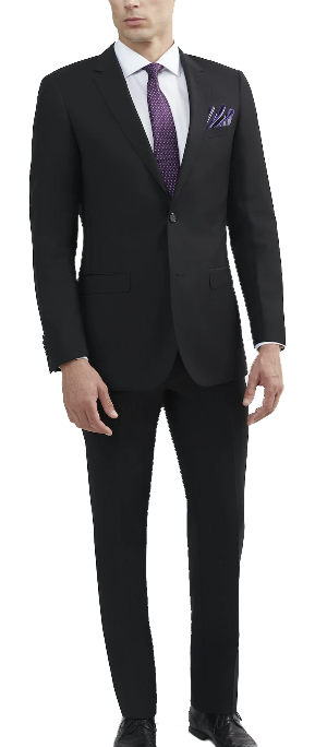 Black slim-fit luxurious wool suit by Tomasso Black