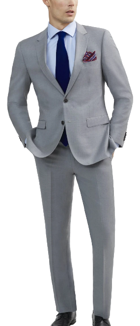 Two-piece light grey suit made of Italian wool by Tomasso Black