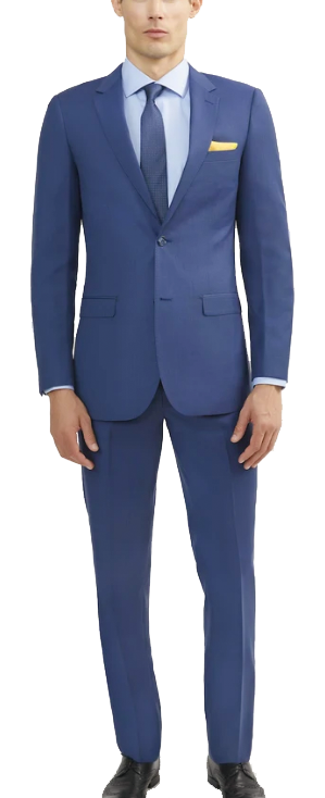 Two-piece royal blue suit made of Italian wool by Tomasso Black