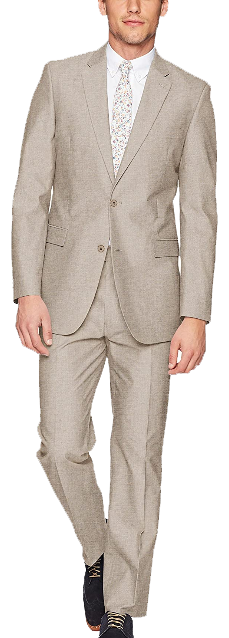 Modern-fit solid tan suit by Tommy Hilfiger