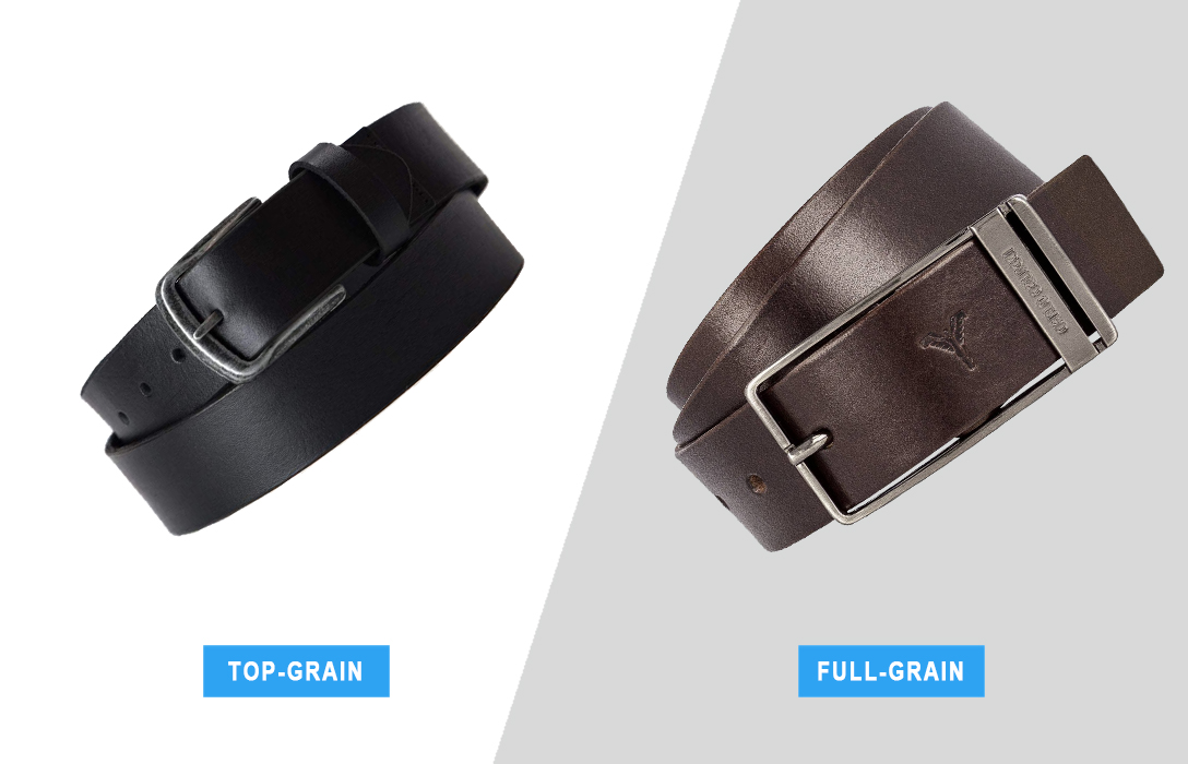 top-grain vs. full-grain men's leather belts