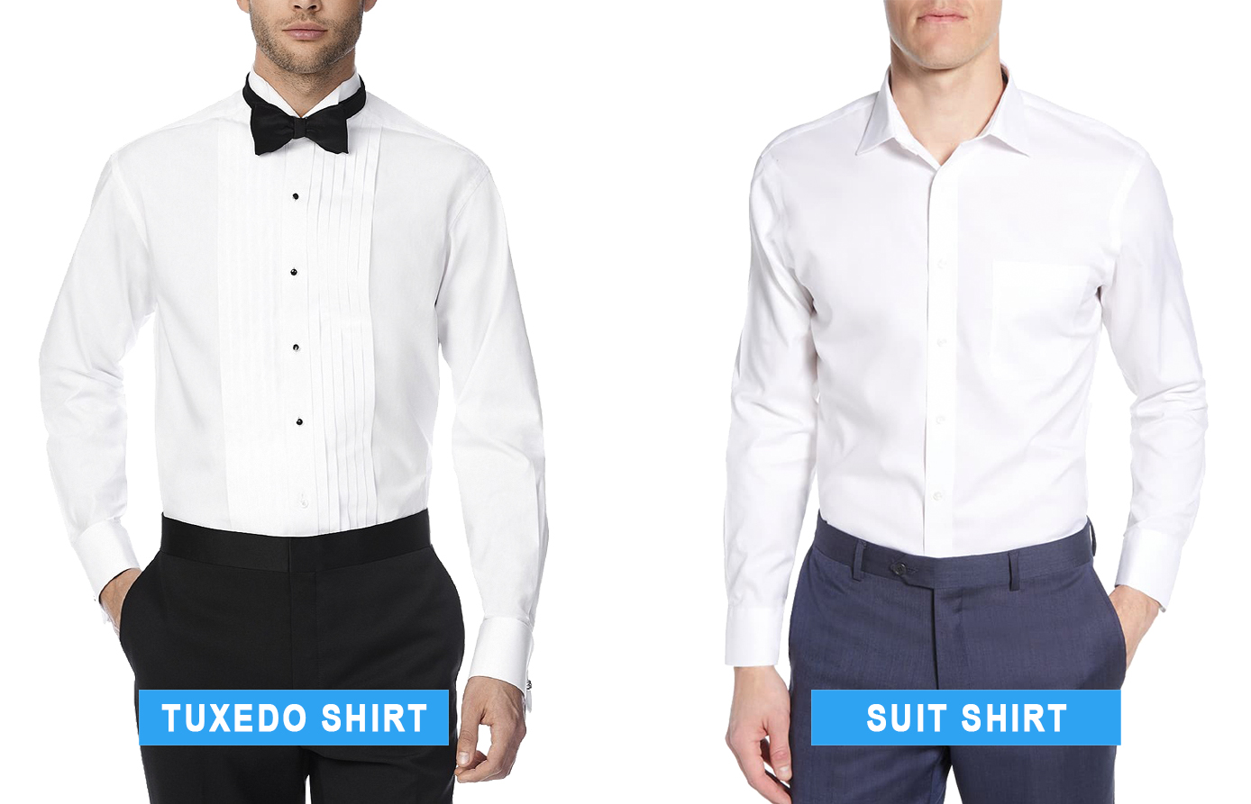 tuxedo shirt vs. dress shirt for a suit