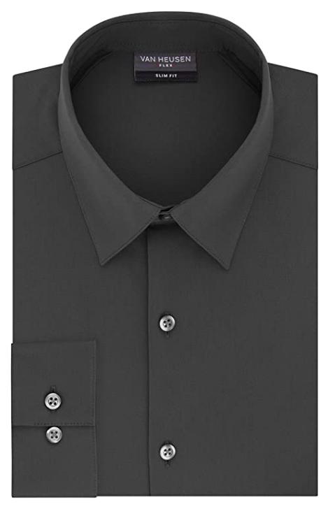 slim fit charcoal grey shirt by Van Heusen