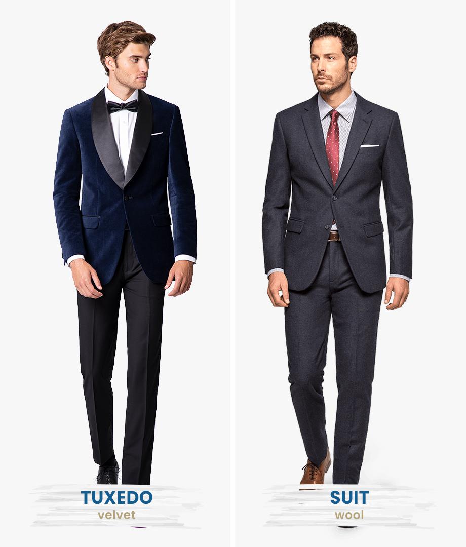 velvet tuxedo and woolen suit