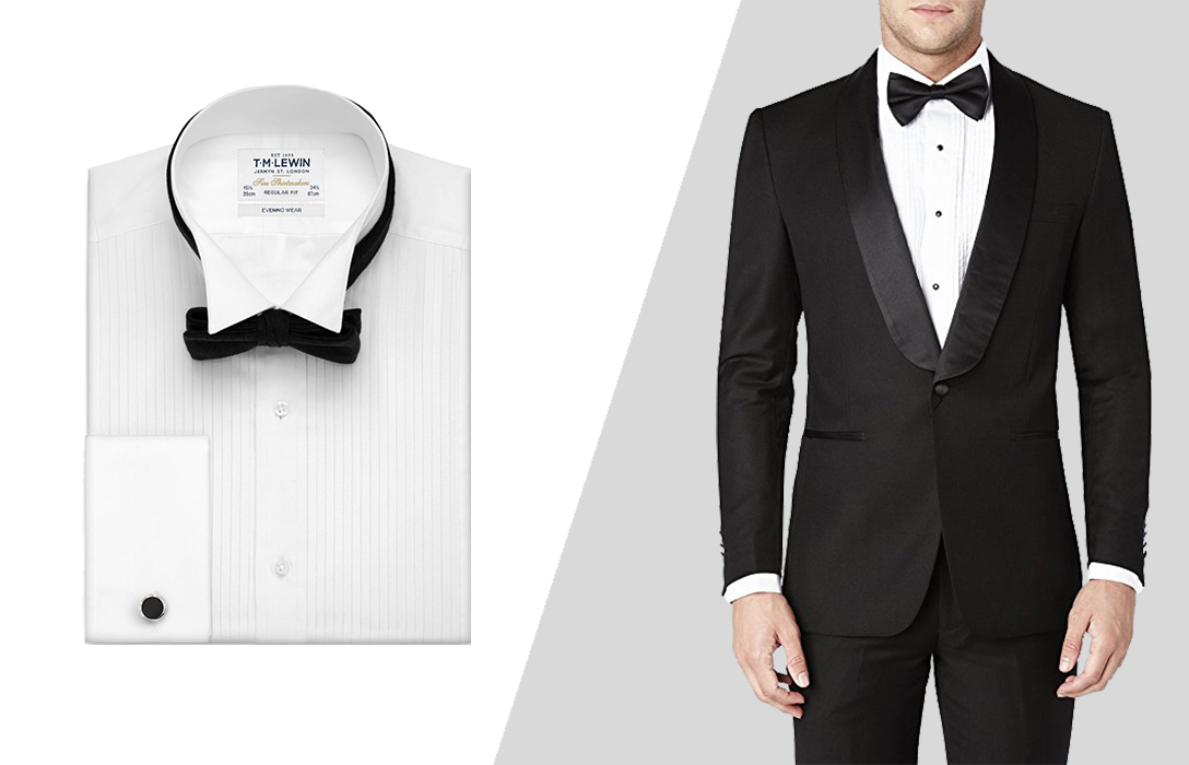 wearing a bow tie with pleated shirt