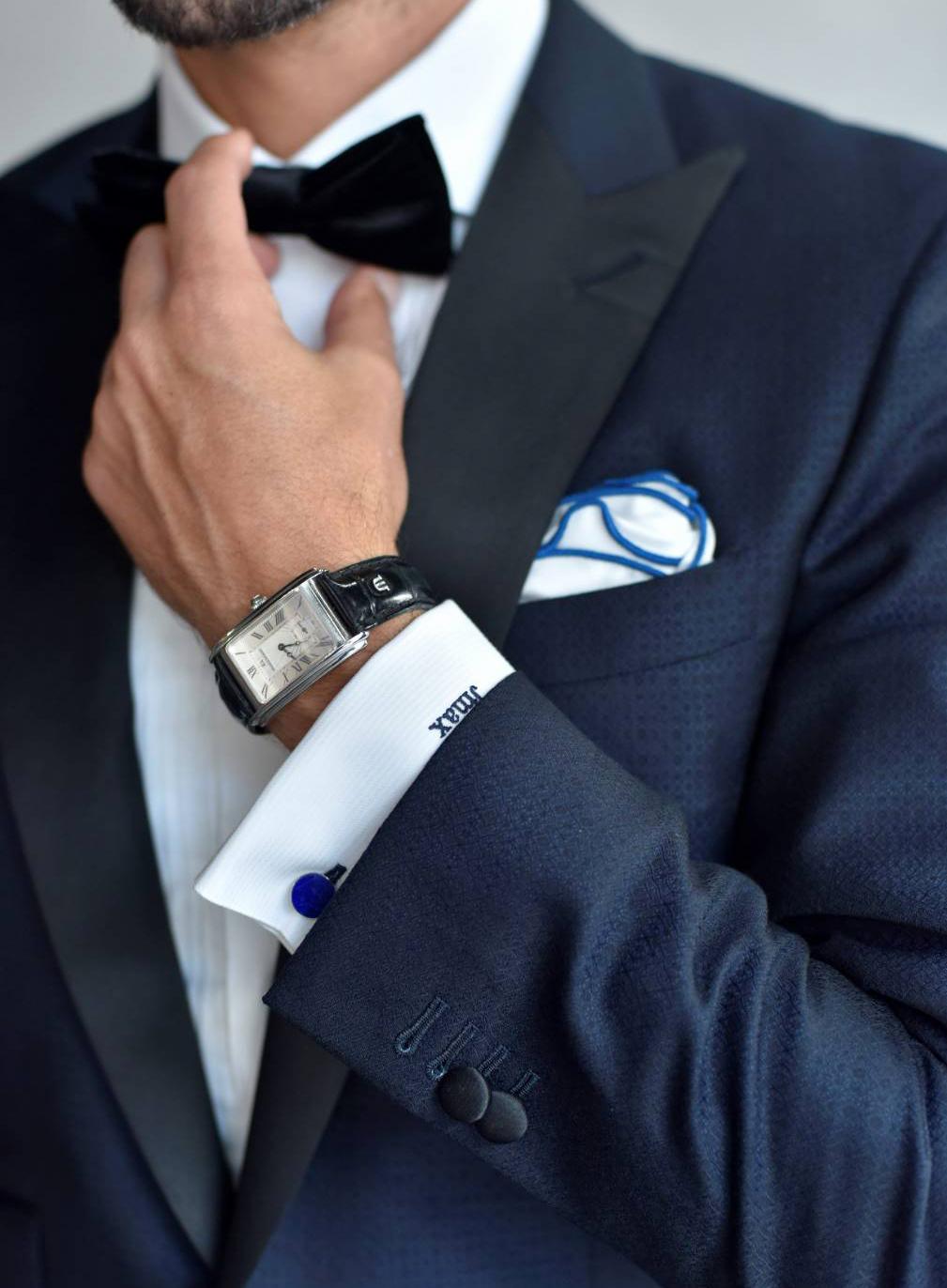 wearing dress watch with midnight blue tuxedo