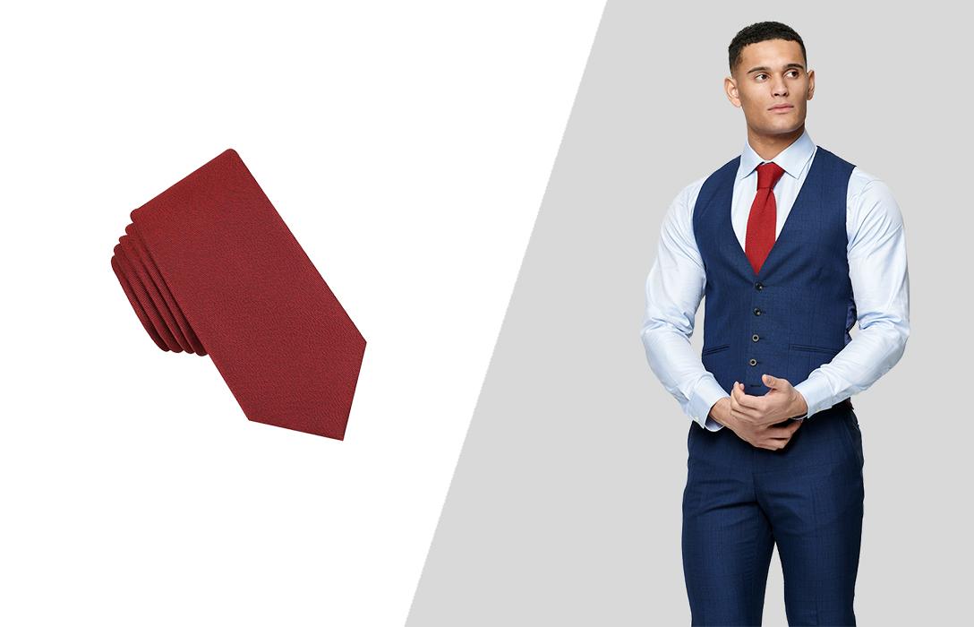 wearing necktie with suit vest