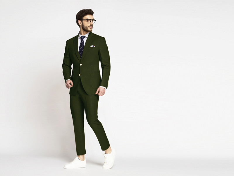 wearing olive-green suit shade
