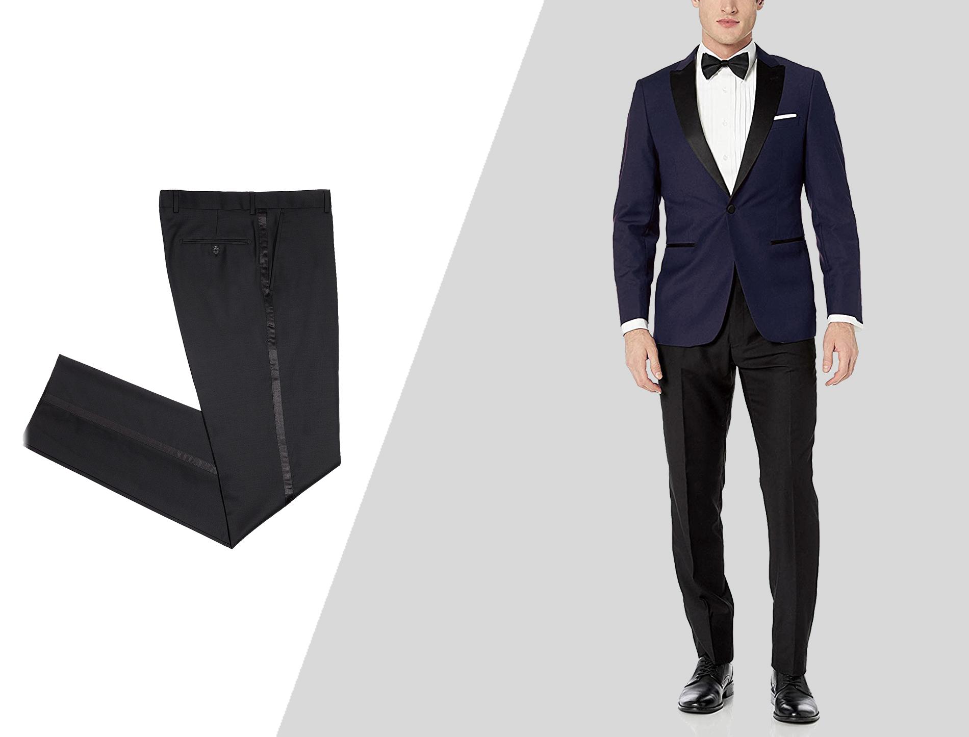 wearing separate blue tuxedo jacket and black tuxedo pants