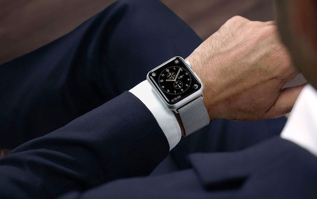 a smartwatch and a suit