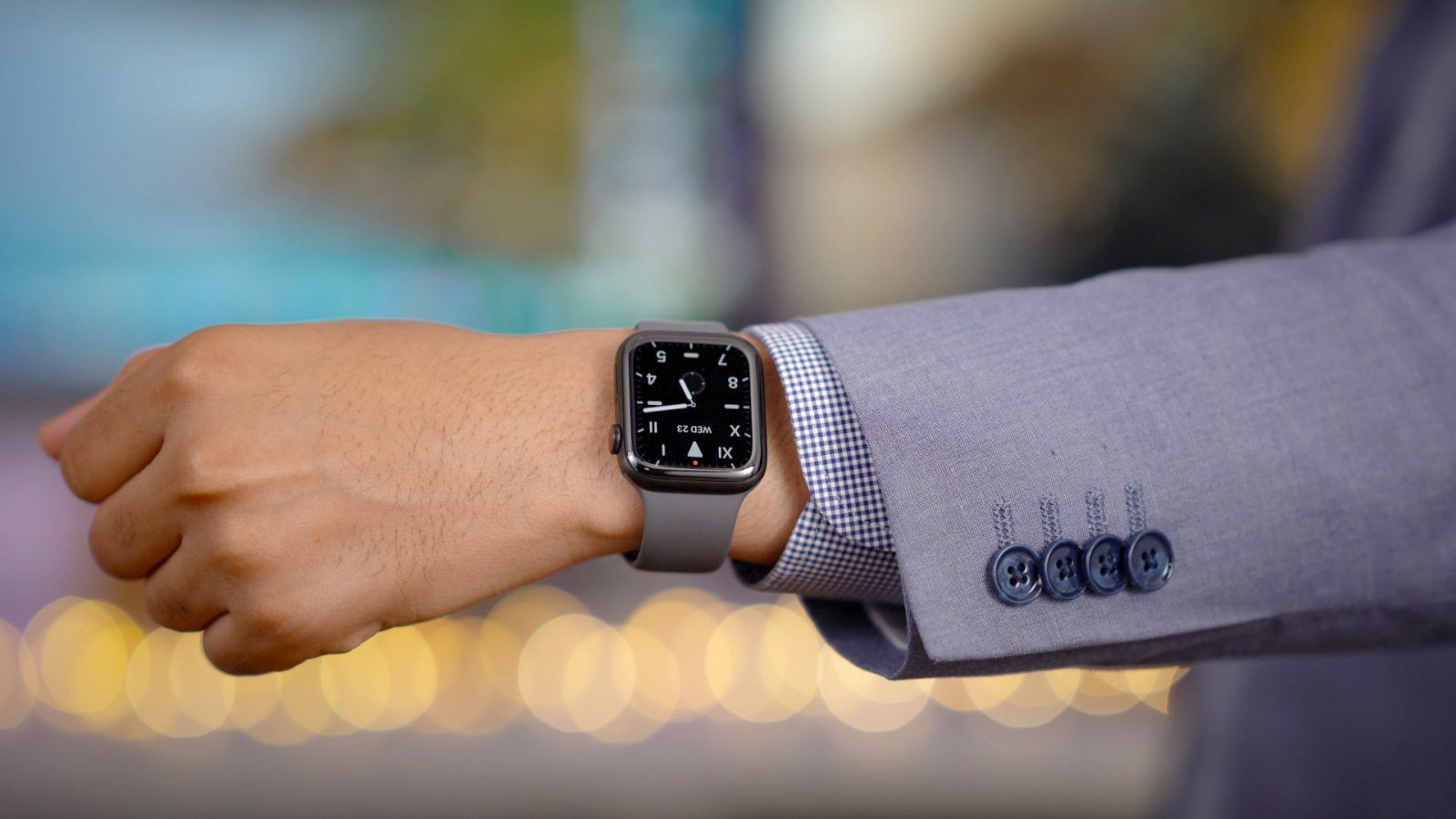 wearing smartwatch with suit