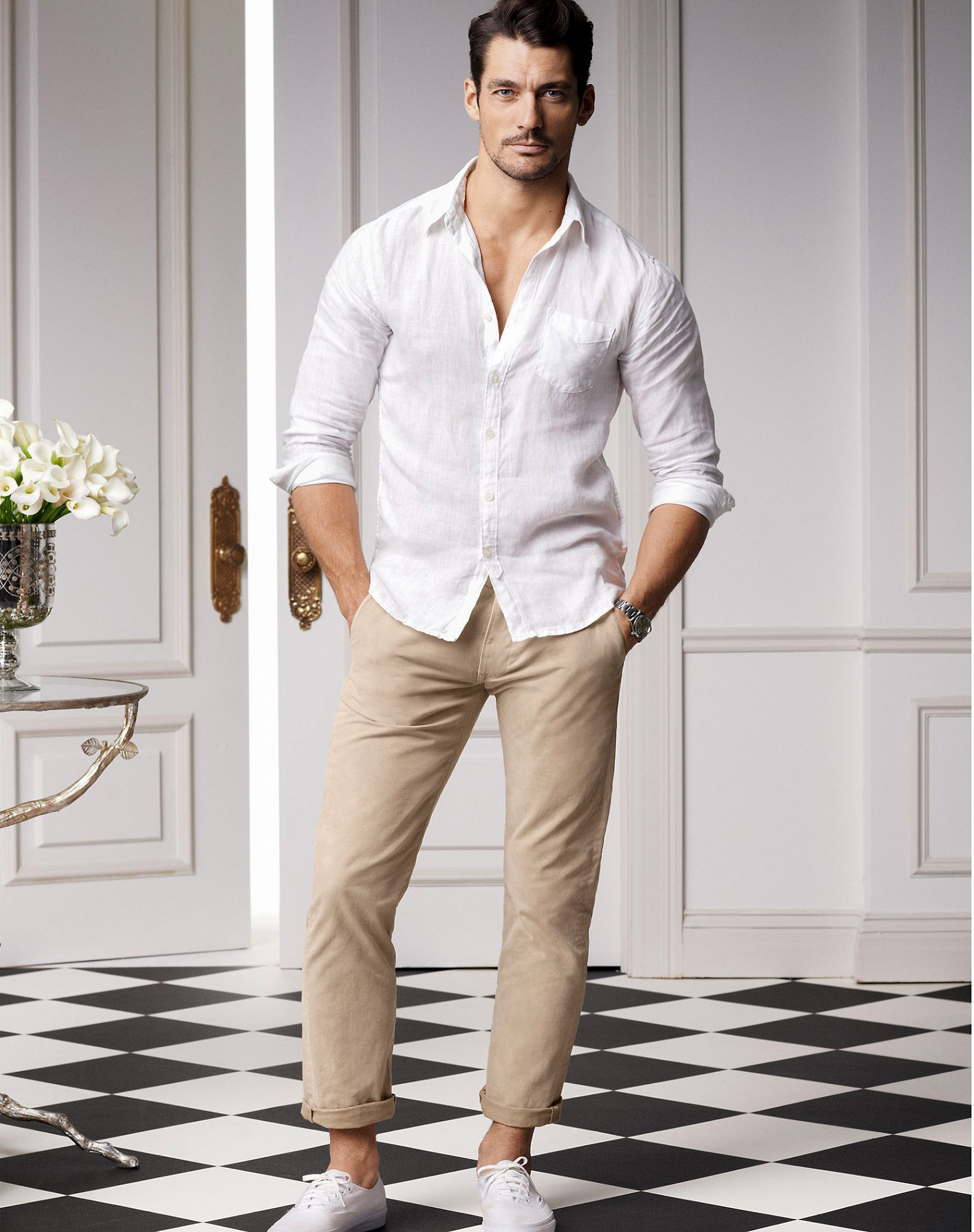 white dress shirt and khaki pants