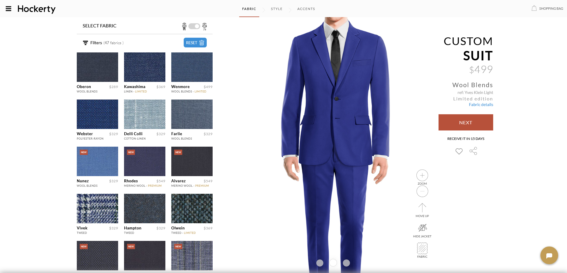 yves klein: blue suit fabric from Hockerty